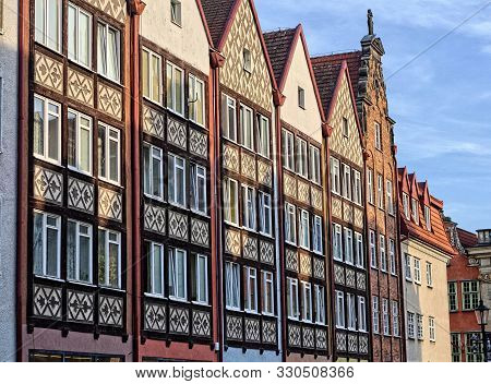 Old historic tenement houses at Levee Street, eastern frontage, Gdansk, Poland poster
