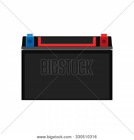 Car Auto Battery Front View Vector Icon. Equipment Transportation Black Accumulator Volt. Service Ve