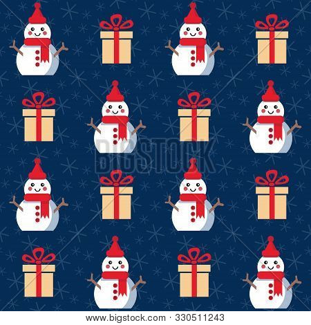 Christmas Presents And Snowmen. Seamless Vector Illustration With Gift Boxes And Bows, Funny Snowmen