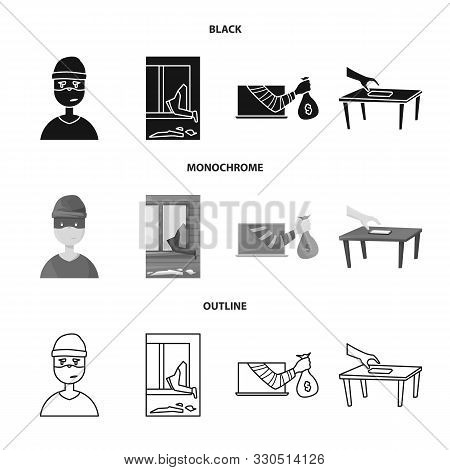 Vector Design Of Crime And Steal Sign. Set Of Crime And Villain Stock Vector Illustration.