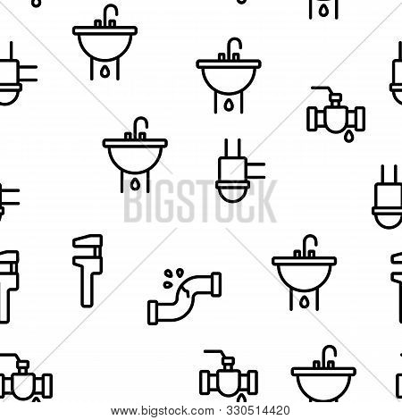Plumbing Fixtures Vector Seamless Pattern Thin Line Illustration
