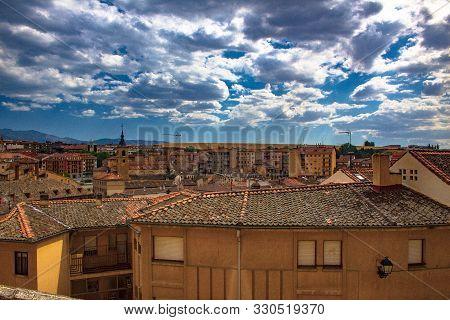 Segovia, Spain, General View. Segovia Is Acity On The Autonomous Region Of Castille And Leon. Is Fam