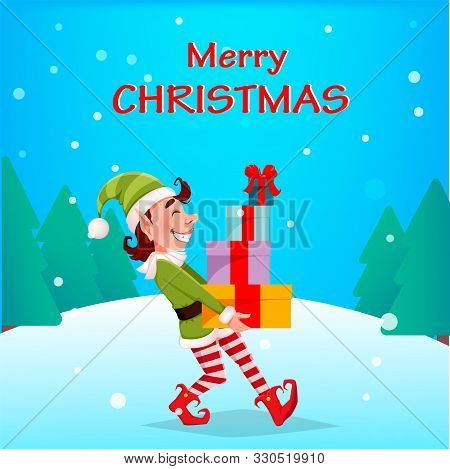 Merry Christmas. Funny Elf Carries Gift Boxes. Santa Claus Helper Elf. Cartoon Character. Vector Ill