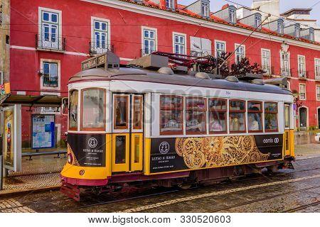 Lisbon, Portugal - January 7, 2016: Sightseeing Of Portugal. Beautiful Retro Tram On Lisbon Street