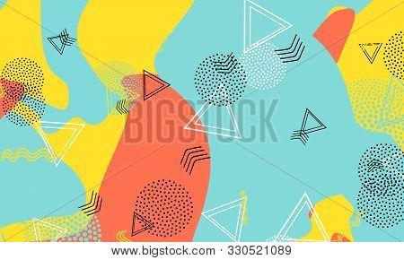 Flow Salmon Print. Amber Trendy Banner. Blue 90s Poster. Dot Design. Aqua Artistic Illustration. Mus