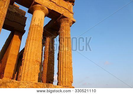 Columns From Valle Dei Templi In Sicily In Italy