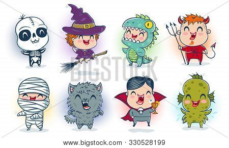 Vector Illustration Of Children With Costumes For Halloween In Kawaii Style. Illustration Of A Cute
