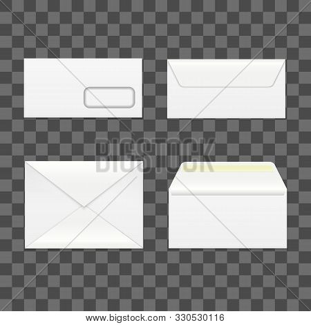 Realistic Detailed 3d White Blank Envelopes Empty Template Mockup Set And Place For Sender. Vector I