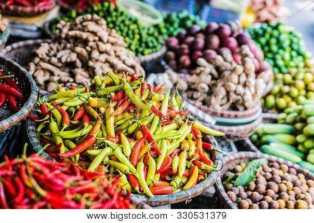 Groceries Sold On The Street Market In Hanoi, Vietnam.