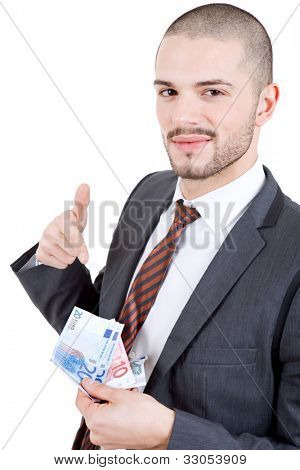happy young business man with money, isolated