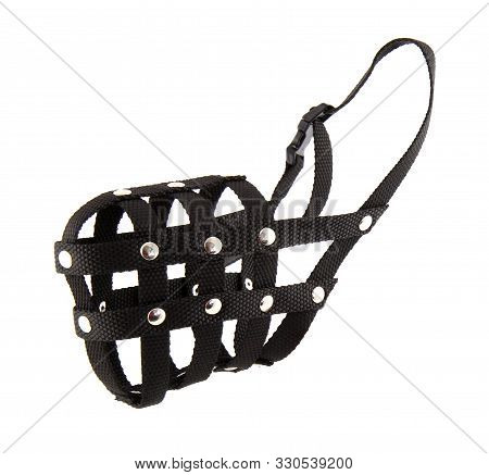 Muzzle Dog Isolated On White Background. The Muzzle Basket Is Black Cloth And For Large Dogs. Breeds