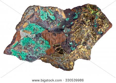 pyrite and malachite mineral isolated on white background