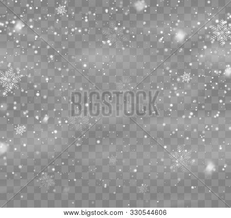 Falling Snow Overlay Background. Snowfall Winter Christmas Background. Vector Illustration.