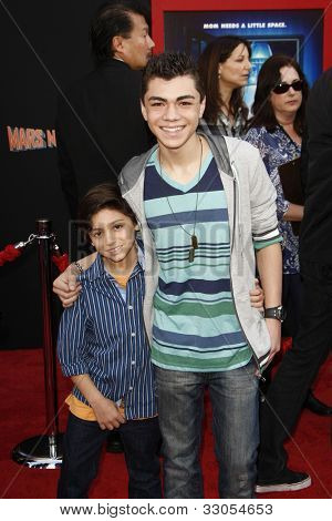 LOS ANGELES - MARCH 6: Jake Irigoyen, Adam Irigoyen at the World Premiere of 'Mars Needs Moms' held at the El Capitan Theater in Los Angeles, California on March 6, 2011