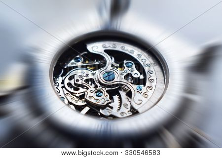 Mechanical Watch Piece Close Up With Zoom Burst Effect