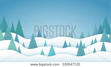 Winter Landscape In A Flat Design. Winter Forest. Winter And Snowfall Vector Background