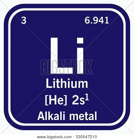 Lithium Symbol Periodic Table Of The Elements Vector Illustration Eps 10.
