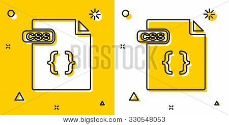 Black Css File Document. Download Css Button Icon Isolated On Yellow And White Background. Css File