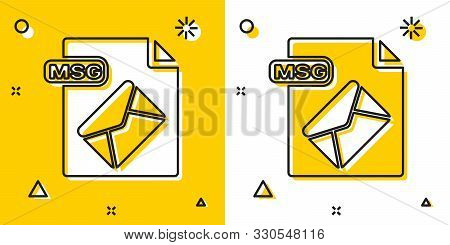 Black Msg File Document. Download Msg Button Icon Isolated On Yellow And White Background. Msg File