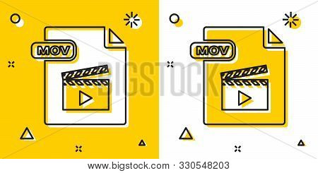 Black Mov File Document. Download Mov Button Icon Isolated On Yellow And White Background. Mov File