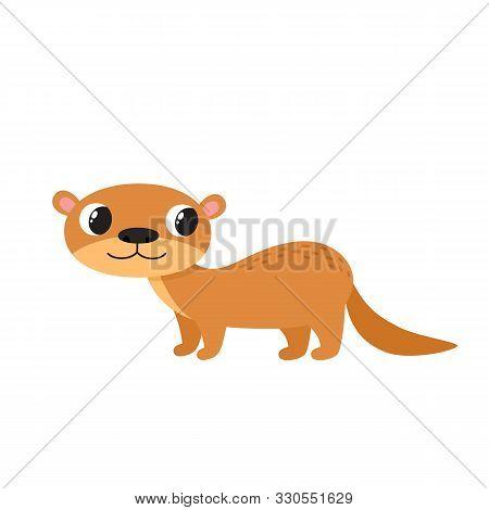 Vector Illustration Of Cartoon Animal - Otter Isolated On White