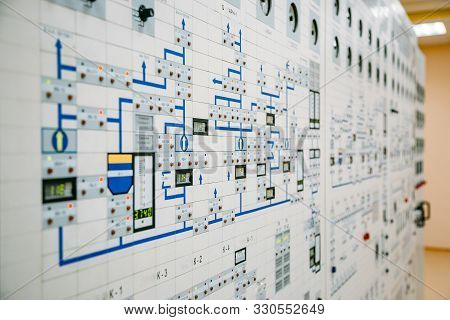 Control Panel Dashboard Of Industrial Machinery Or Power Plant, Selective Focus