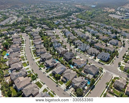 Aerial View Suburban Neighborhood With Big Villas Next To Each Other In San Diego, California, Usa.
