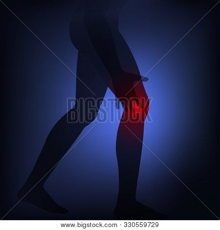 Man Silhouette Touch To  Pain Knee. Health Problems Concept, Arthritis, Gout, Ruptured Ligament, Tor