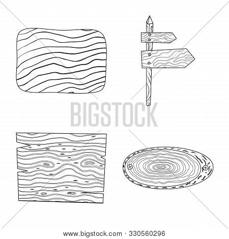 Vector Design Of Hardwood And Material Sign. Collection Of Hardwood And Wood Stock Vector Illustrati