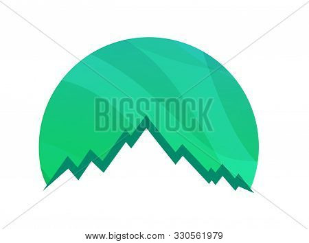 Mountains Round Logo Isolated On White Background - Green Vector Icon Illustration Of Alpine Rock Su