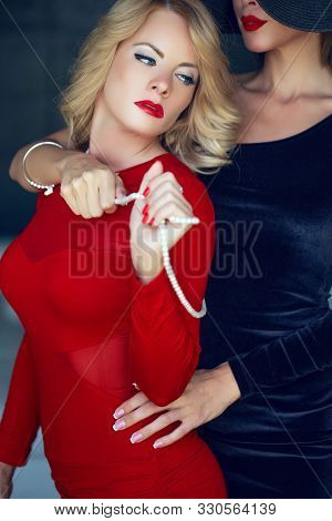 Sinful Blonde Woman In Red With Lesbian Lover Foreplay, Lust