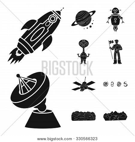 Vector Illustration Of Colonization And Sky Logo. Collection Of Colonization And Galaxy Stock Symbol