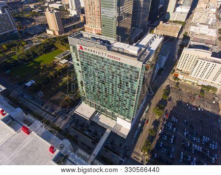 Houston, Usa - Dec. 15, 2018: Marriott Marquis Houston Aerial View In Downtown Houston Next To Georg