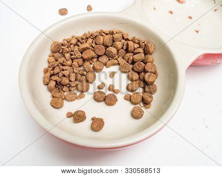 Dirty Cat Food Bowls On A Mucky White Surface