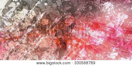 Messy Grungy Textured Background In Black White And Red, Distressed Dirty Grunge Stains And Paint Sp