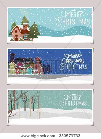 Happy Mery Christmas Cards With Snowscape Scenes Vector Illustration Design