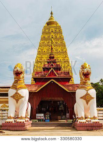 Kanchanaburi, Thailand - October 5, 2019: Phuthakaya Pagoda, Bodhgaya Stupa At Sangklaburi, Kanchana