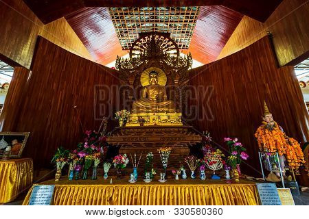 Kanchanaburi, Thailand - October 5, 2019: Golden Buddha Statue In Phuthakaya Pagoda, Bodhgaya Stupa