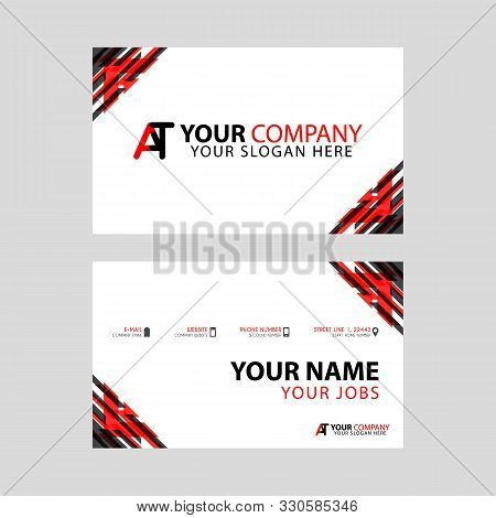 Simple Business Card Is Red Black With At Logo Letter Modern Clean Vector Design. Ta Logo Can Be Use