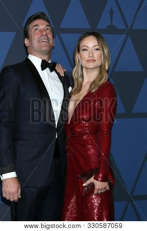 LOS ANGELES - OCT 27:  Jon Hamm, Olivia Wilde at the 11th Annual Governors Awards at the Dolby Theater on October 27, 2019 in Los Angeles, CA