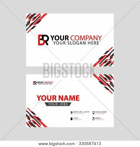 Horizontal Name Card With Br Logo Letter And Simple Red Black, Edge Decoration .rb Logo Can Be Used