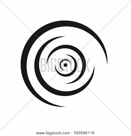 Rounded Lines Of Ripples Of Liquid Logo Diverge To The Sides Concentric Shape Monochrome Design Elem