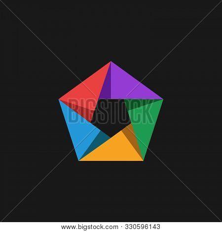 Pentagon Logo Multicolored Intersecting Panels Symbolizing Teamwork, Communication Or Alliance