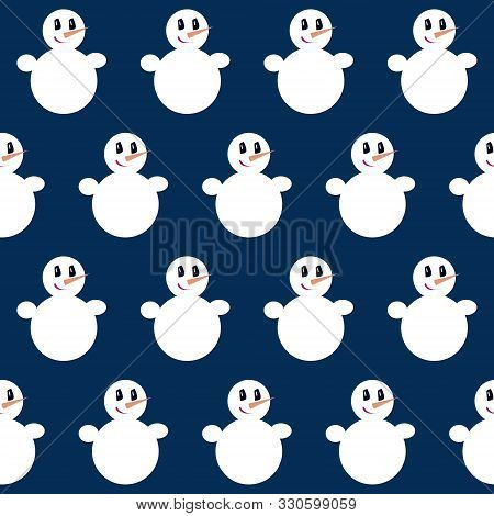 Snowman. Seamless Vector Illustration With Christmas Characters. Minimalistic And High Contrast Illu