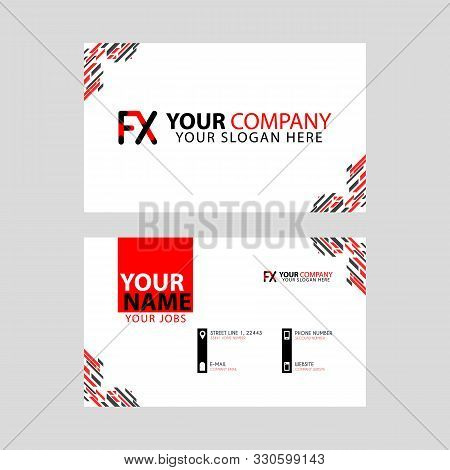 Modern Business Card Templates, With Fx Logo Letter And Horizontal Design And Red And Black Colors.