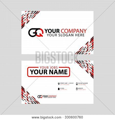 Modern Simple Horizontal Design Business Cards. With Gq Logo Inside And Transparent Red Black Color.