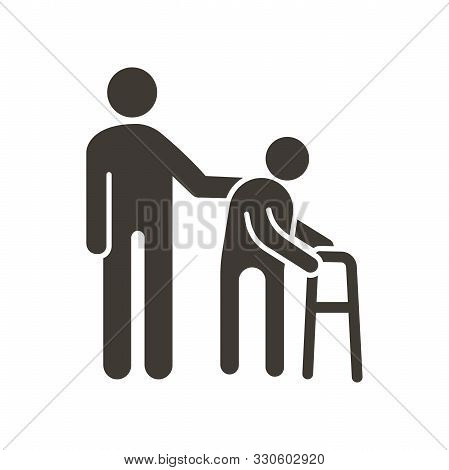 Person Helping Old Patient. Vector Flat Glyph Icon Illustration. Nursing Home, Senior And Elders Sup