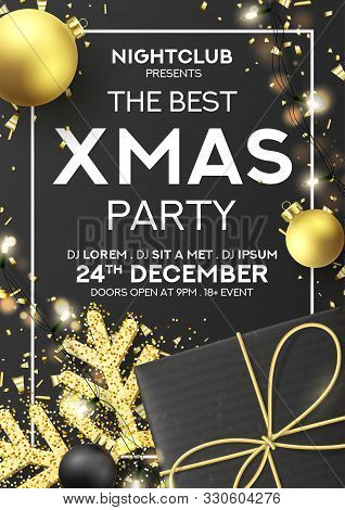 Xmas Party Flyer Invitation. Holiday Background With Realistic Black Gift Box, Gold Snowflake And Sp