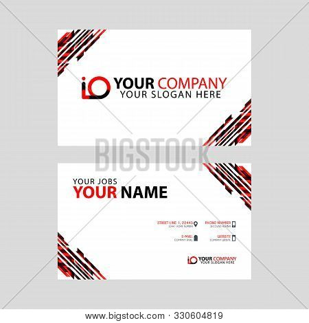 Horizontal Name Card With Decorative Accents On The Edge And Bonus Io Logo In Black And Red. Oi Logo
