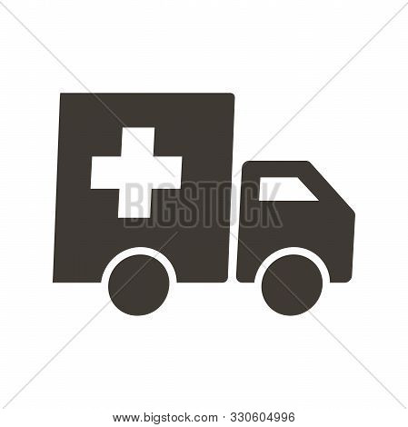 Truck With Red Cross. Medical And Food Supplies Icon. Vector Flat Glyph Illustration. Charity, Donat